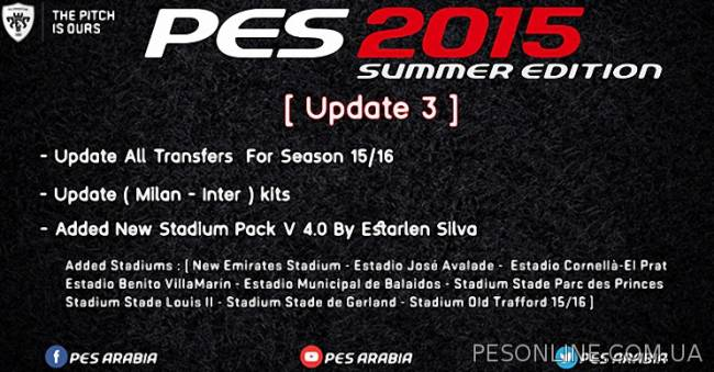 PES 2015 Summer Edition Patch обновление 1.3 (Season 2015/2016)